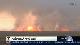 Veľký požiar ukrajinského muničného skladu má prvú obeť