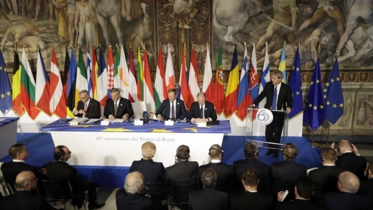 Pozrite si slávnostné prejavy európskych lídrov na summite v Ríme