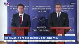 TB. A. Danka a R. Vondráčka po rokovaní predsedníctiev parlamentov