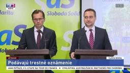 TB členov SaS o podaní tresného oznámenia v kauze Bonaparte