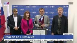 TB predsedu strany KDH A. Hlinu k tvrdeniam I. Matoviča