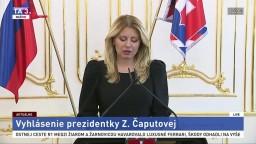 Vyhlásenie prezidentky Z. Čaputovej o aktuálnych kauzách