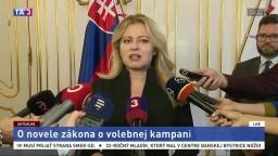 Vyhlásenie Z. Čaputovej k novele zákona o volebnej kampani