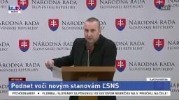TB poslanca NR SR M. Špánika o podnete voči stanovám ĽSNS
