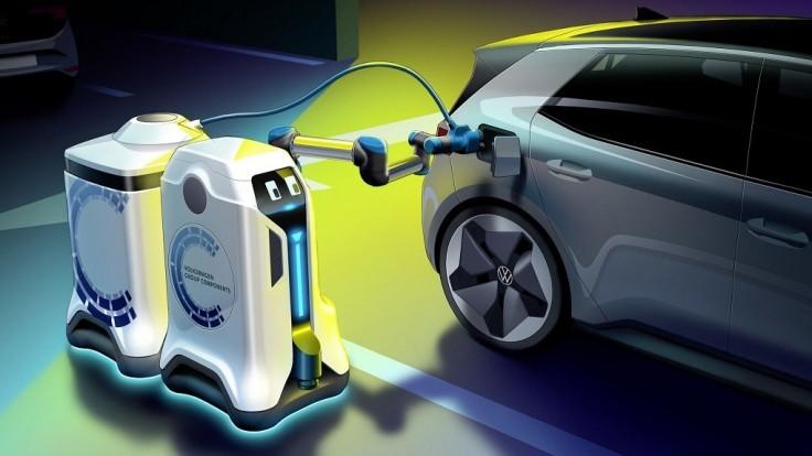 VW odhaľuje pojazdné robotické nabíjačky elektromobilov