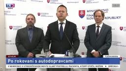TB ministra L. Kamenického po rokovaní s autodopravcami