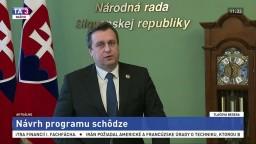 TB predsedu NR SR A. Danka o návrhu programu schôdze