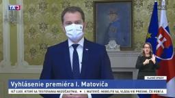 Vyhlásenie premiéra I. Matoviča k celoplošnému testovaniu