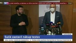 TB ministra R. Sulíka o zastavení nákupu antigénových testov