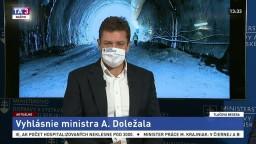 Vyhlásenie ministra dopravy A. Doležala o výstavbe tunela Višňové