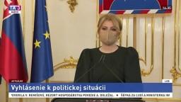 Vyhlásenie prezidentky Z. Čaputovej o prehlbujúcej sa vládnej kríze