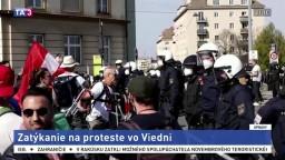 Protest vo Viedni sa skončil zatýkaním, ľudia sa snažili preraziť barikády