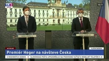 Tlačová beseda A. Babiša a  E. Hegera počas jeho návštevy Česka