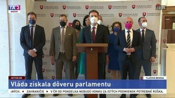 TB predstaviteľov koaličných strán po získaní dôvery parlamentu