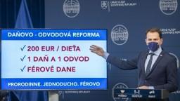 Matovič predstavil základ reformy: 200 eur na dieťa a férové dane