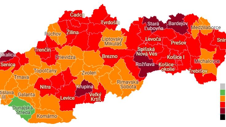 COVID automat: Od pondelka máme päť okresov v bordovej farbe, zelená je iba Dunajská Streda