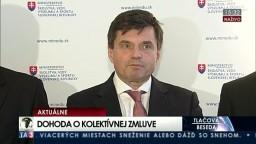 TB P. Plavčana a predstaviteľov odborov a ZMOS o kolektívnej zmluve