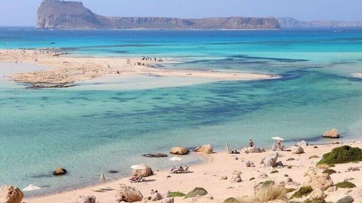 Nádherná pláž Balos na ostrove Kréta.