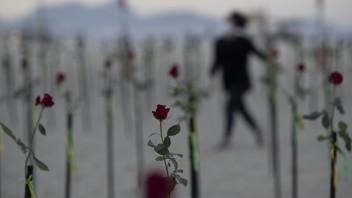 Ruže umiestnené na známej pláži Copacabana